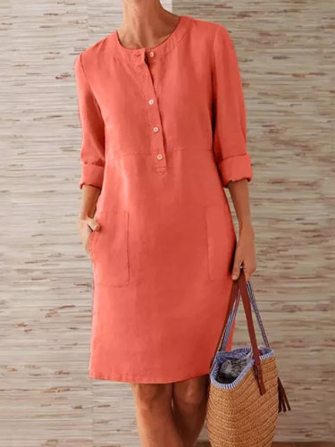 Fashion Women Summer Round Neck Solid Long Sleeve Pocket Dress