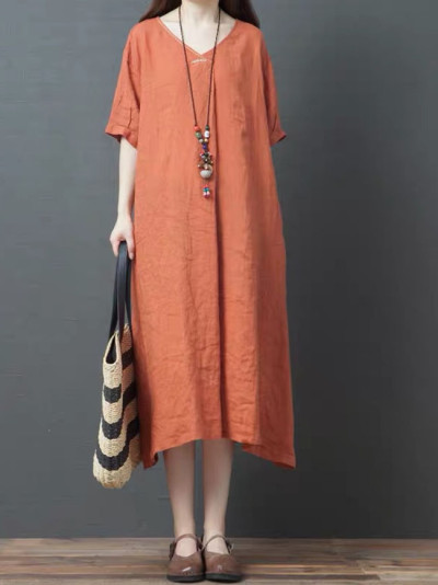 Women Loose Casual Dress Summer Solid Color Female Cotton Linen Long Dresses