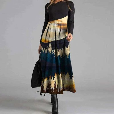 V-Neck Women Spring Autumn Long Sleeve Fashion Dress Chic Printing Midi Dress
