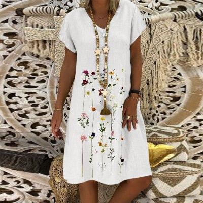 Fashion Women Cotton Linen Dress Embroidered Short Sleeves V-neck Casual Short Dress