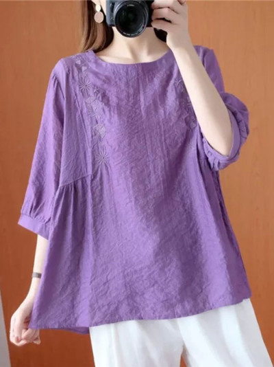 Summer Casual T-shirts New Simple Vintage Embroidery Half Sleeve Loose Cotton Linen Tops