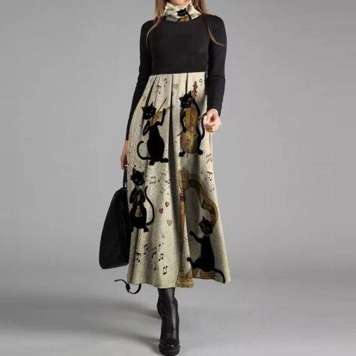 V-Neck Women Spring Autumn Long Sleeve Fashion Dress Chic Printing Midi Dress
