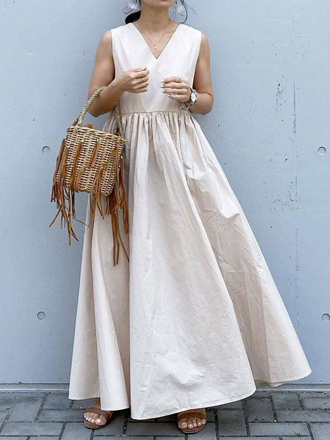 Casual Women Pleated Dress Summer Sleeveless Female V Neck Cottons Robe
