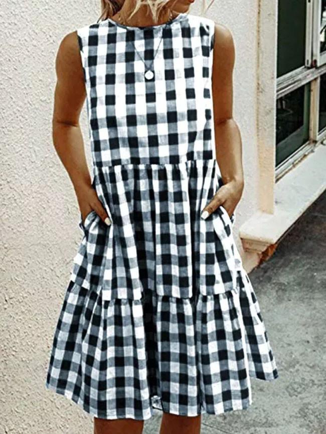 Fashion Women Plaid Short Dress Pockets A-line Dress Casual Summer Beach Dress Sundress