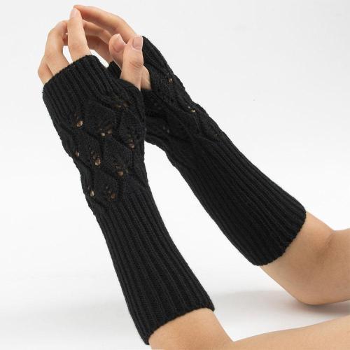 Autumn Winter Women Wool Arm Warmers Winter  Button Knitted Mitten Long Gloves