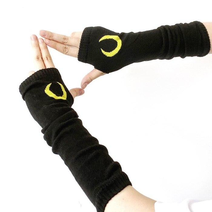 Black Unisex Glove Fingerless Hipster Cool Basic Accessories Moon Crescent Daisy Cross