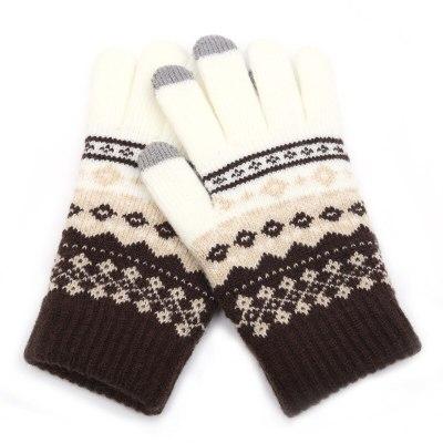 Winter Men/Women Warm Jacquard Stretch Knit Gloves Wool Full Finger Gloves