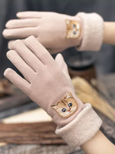 Cartoon Cat Embroidery Plus Velvet Thick Warm Driving mittens Touch Screen Gloves