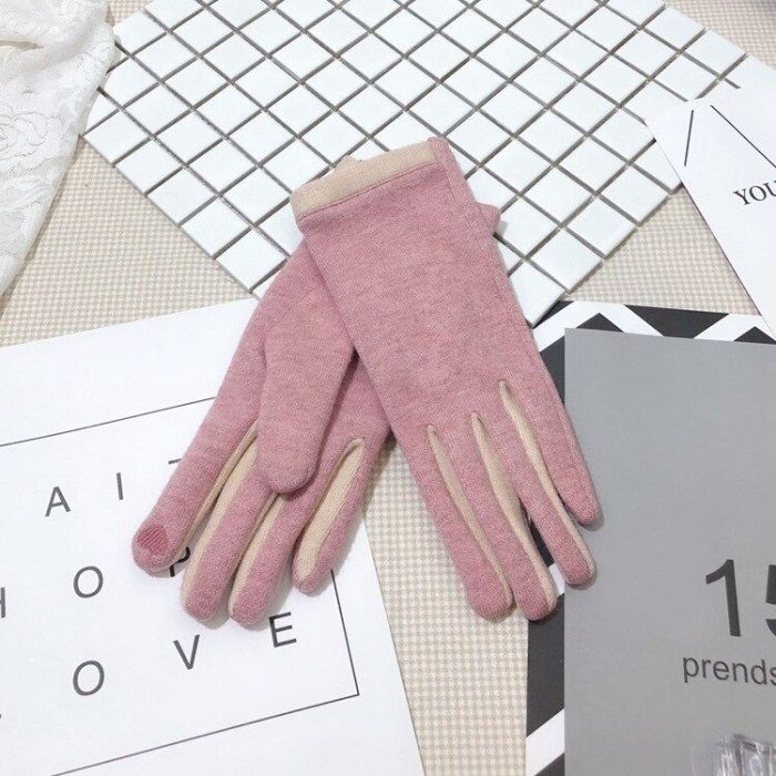 Women's warm cashmere gloves for autumn and winter touch screen gloves