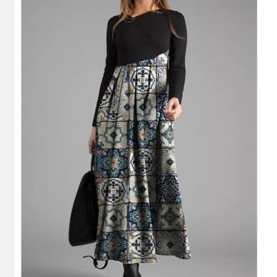 Fashion Floral Print Patchwork Dress Women Casual Long Sleeve O Neck Maxi Dresses