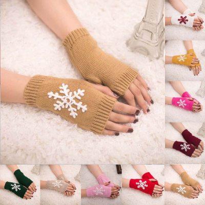 Women Knitted Fingerless Gloves Winter Girl Christmas Snowflake Arm Gloves