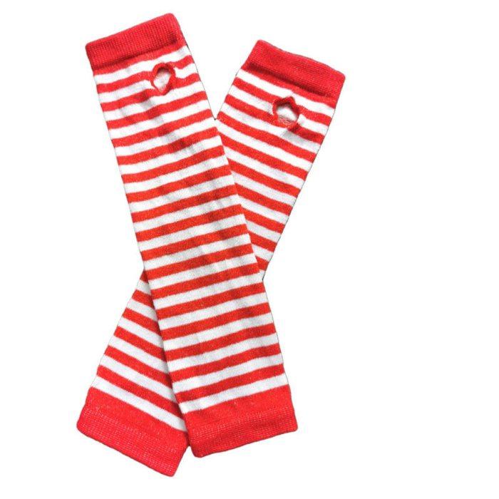 Fashion Women Striped Gloves Knitted Long Fingerless Gloves Christmas Gift