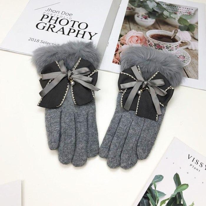 Wool Gloves Ladies Plus Velvet Thickening Warm Touch Screen Driving Gloves