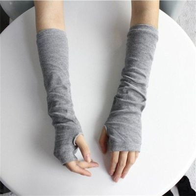 Fashion Women Striped Gloves Knitted Long Fingerless Gloves Christmas Gift