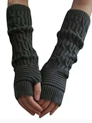 Casual Hemp Flowers Fingerless Fashion Knitted Long Gloves