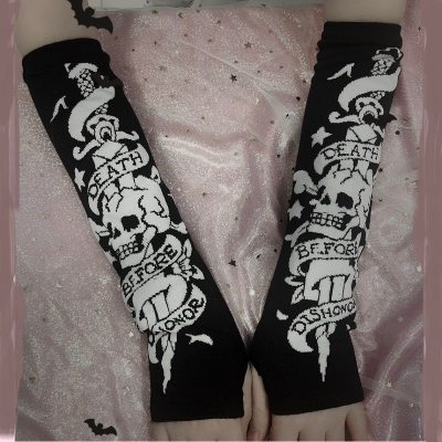 Skull Balck Gloves Arm Warmer Length Sleeve Fingerless Knitting Mittens