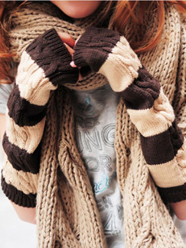Woolen Glove Sleeve Women's Winter Knitted Warm Long Gloves