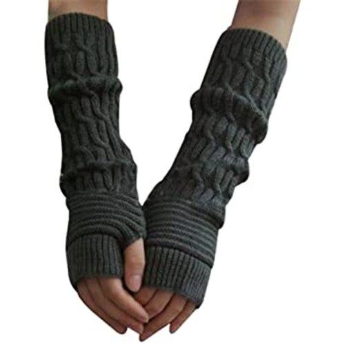 Casual Hemp Flowers Fingerless Fashion Knitted Long Gloves