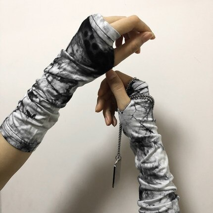 Unisex Fingerless Cuff Gloves Sleeve Sport Mitten Cool Harajuku Tie dye