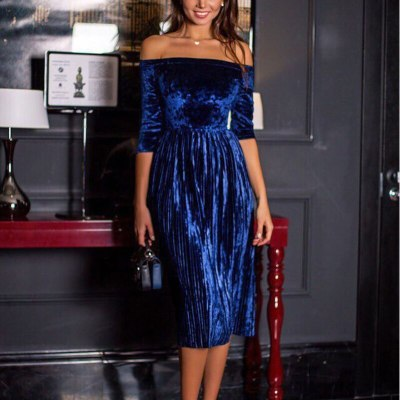 Women Dress Fashion Pleated Velvet Party Midi Dress