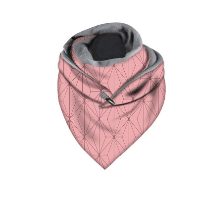 Warm Windproof Prints Double-layer Buckle Scarf  Women Fashion