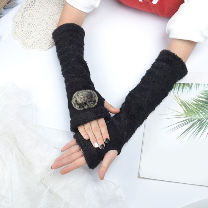 Fashion Long Glove Arm Cover Classic Solid Color Striped Fingerless Winter Mittens