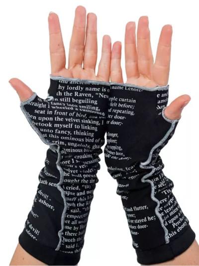 Letter Print Multi-purpose Mitten Short Fingerless Half Finger