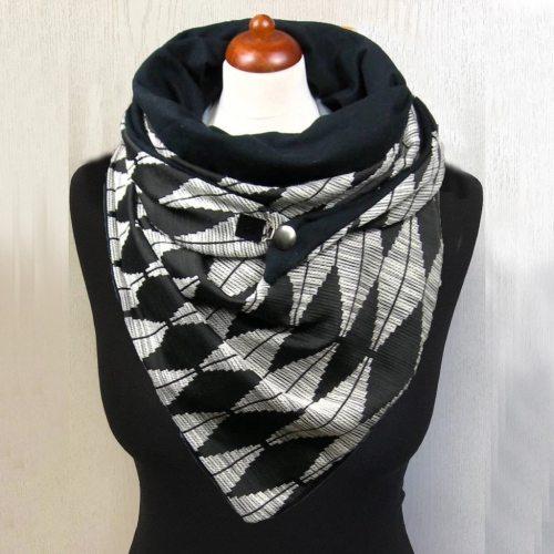 Women Star Dot Stripe Printing Scarf Button Soft Warm Scarves Cycling Face Bandana