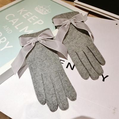 Ribbon Bow Gloves For Autumn And Winter Split Finger Warm Gloves Women
