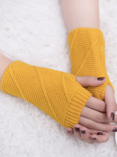 Knitted Fingerless Gloves Autumn Winter Outdoor Warm Half Finger Cycling Gloves
