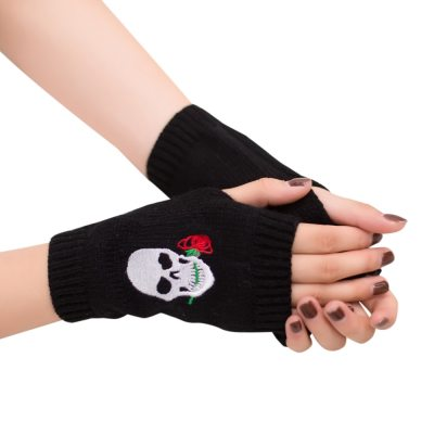 Fingerless Gloves Half Finger Knitted Mittens Winter Soft Unisex Basic Gloves