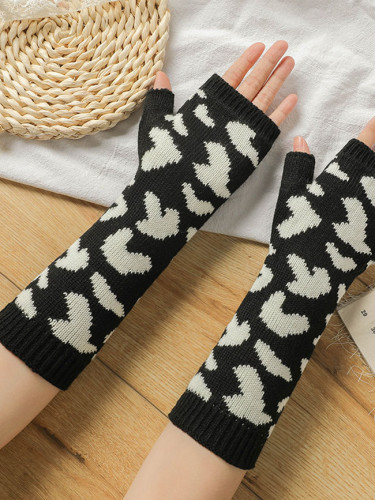 New Fashion Wool Leopard Print Knit Half Finger Gloves Fingerless Wristband