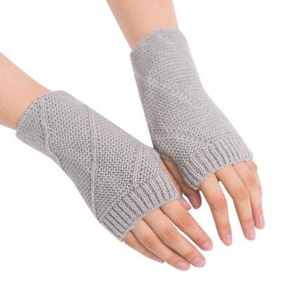 Knitted Fingerless Gloves Autumn Winter Outdoor Warm Half Finger Cycling Gloves