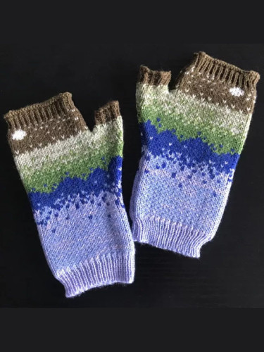 Fingerless Wrist Sets Winter Warm Embroidered Colored Knitted Patchwork Mittens