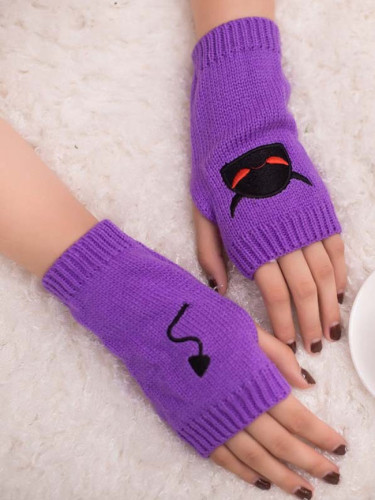 Embroidered Devil Tail Woolen Half Finger Gloves Candy Color Warm Halloween Gloves