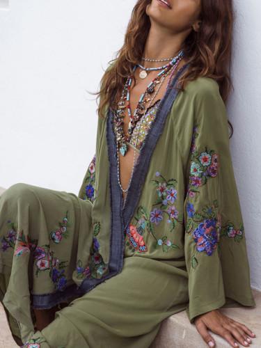 Long Boho cardigan light Green Floral embroidery beach wear