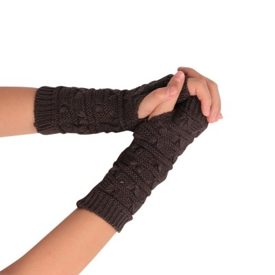 Unisex Gloves Knitted Fingerless Autumn Winter Outdoor Warm Half Finger Cycling Gloves