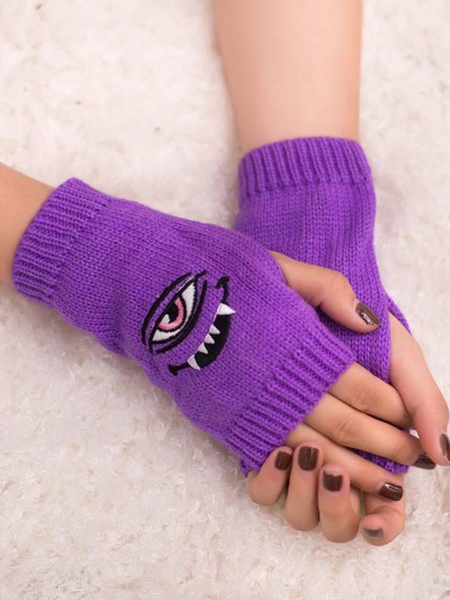 Eye Demon Embroidered Gloves Candy Multicolor Half Finger Woolen Warm Gloves