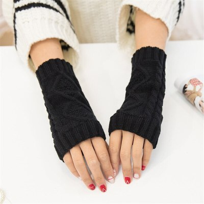 Woman Fingerless Cotton Warm Knitted Gloves Half-Finger Cover Ladies Soft Mittens