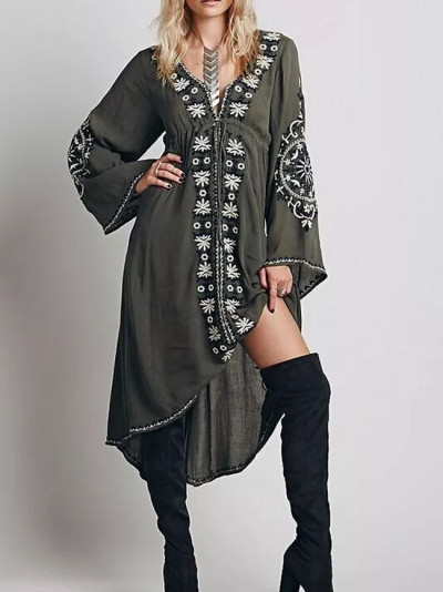 Long sleeve dresses Vintage floral Embroidered Cotton Long Dress Asymmetric Robe