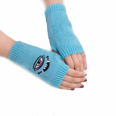 Eye Demon Embroidered Gloves Candy Multicolor Half Finger Woolen Warm Gloves