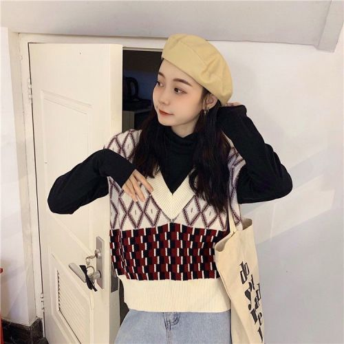 Women Sleeveless Pullover Winter Vintage Geometric V Neck Knit Sweater Vest