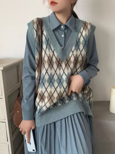 Sweater Vest Women V-Neck Knitted Vest Knitted Pullover Sleeveless Coat