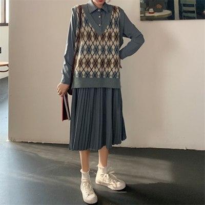 Sweater Vest Women V-Neck Knitted Vest Knitted Pullover Sleeveless Coat