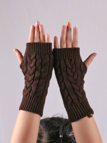 Winter Gloves Fingerless Gloves Knitted Women Hand Wrist Warmer Mittens