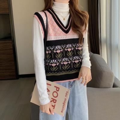 Striped Vintage Knitted Sweater Vest Women Pullover V-Neck Embroider Knitted Vest