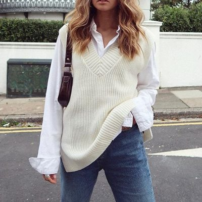 Women V Neck Sweater Vest Solid Knitted Sleeveless Sweater Casual Pullover Jumper