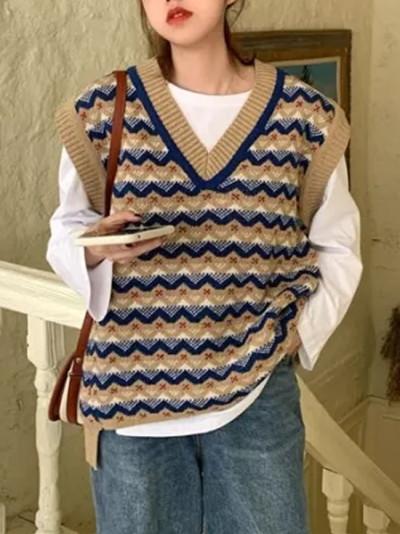Knit Vest Women V-necked Streetwear Outwear Winter Autumn
