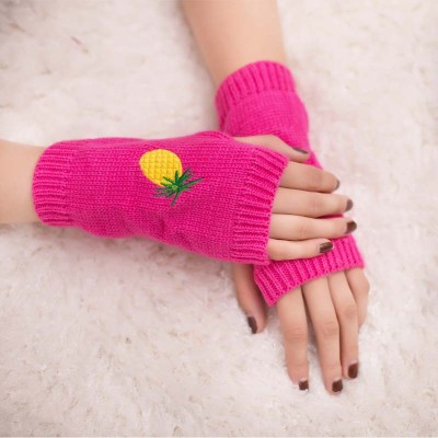 Pineapple embroidery pattern knitted half-finger gloves color warm gloves