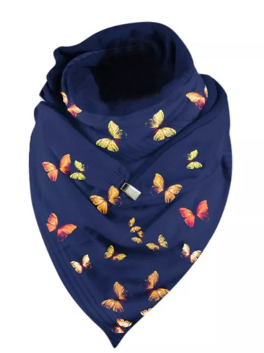 Butterfly Printing Scarf Fashion Winter Button Soft Wrap Casual Warm Scarves
